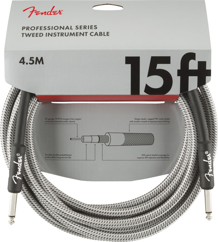 Fender Professional Instrument Cable, 4,5m, White Tweed